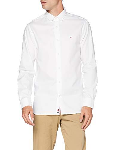 Tommy Hilfiger Flex Two Tone Dobby Shirt Camicia, Bianco, L Uomo