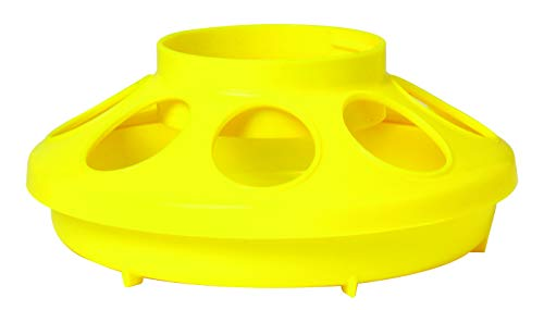 Little Giant Plastic Feeder Base (1 Quart) Heavy Duty Plastic Water Tray Base for Container (Yellow) (Item No. 806YELLOW)