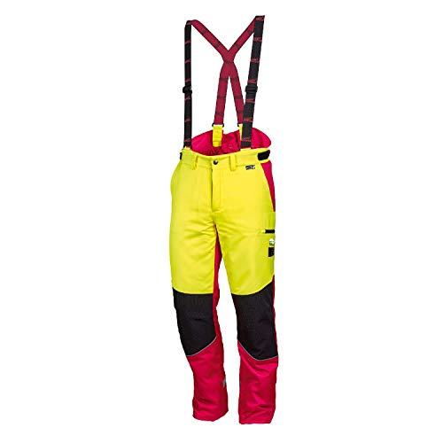 NEU! WORKY ® Forstschnittschutzhose Komfort, modern, rot/neongelb, gut sichtbar, Gr. 48 - 62 (60)