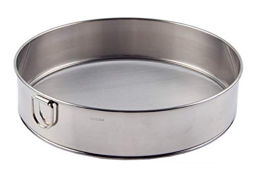 Hengdai - Setaccio professionale rotondo per farina in acciaio inox 18/8, con 60 maglie (25 cm)