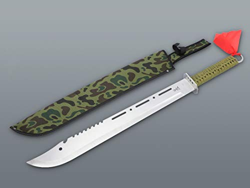 KS-11 Militär Machete Camo Edition + Holster - Survival Outdoor langes Messer-Set - Bowie - Trainingsmesser Military- festehende Klinge Silber grün schwarz braun