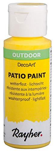 Rayher 38610160 Patio Paint, zitrone, Flasche 59 ml, wetterfeste Acrylfarbe für Den Außenbereich, lichtecht, Farbe für Innen und außen, Outdoor-Farbe