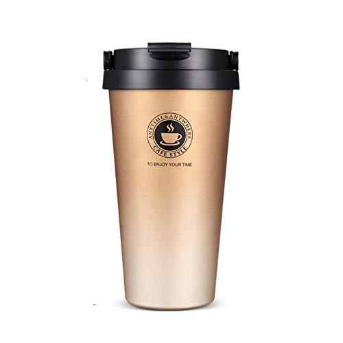 SLOSH Tazza Termica Viaggio caffè Thermos Bottiglia Acqua Infusione Ufficio Borraccia Acciaio Inox Auto Infusore Travel Mug Coffee To Go Bpa Free 500ml (Oro)