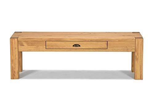 Naturholzmöbel Seidel Lowboard 160x38cm Höhe 30cm mit Schublade Massivholz Sideboard Konsole Anrichte TV Board Wandtisch, Rio Bonito Pinie Massiv Honig Hell