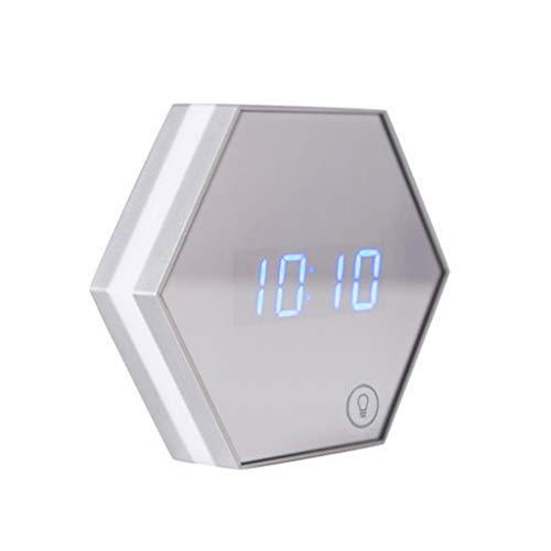 SMEJS Espejo Digital Reloj Despertador Espejo táctil Reloj de Carga inalámbrico Reloj de luz Reloj Despertador USB Espejo de Maquillaje (Color : B)