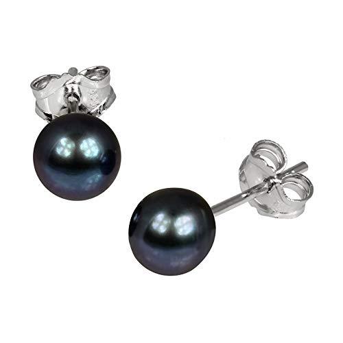 SilberDream Ohrringe 6,5mm Damen 925 Silber Ohrstecker Perle schwarz SDO107S