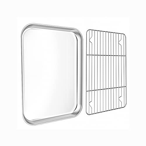 Small Baking Sheet with Rack Set,WKTFOBM Stainless Steel Toaster Oven Tray with Cooling rack(10.2 x 8 x 1 Inch), Heavy Duty Small Oven Pan & Cookie Sheets for Baking2