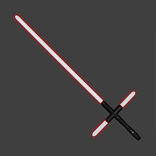 YDD Kylo Ren Replica Lightsaber Light Up Red Led Light Saber Force FX Metal Hilt for Adult (Black hilt red Blade)