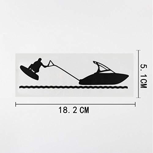 GenericBrands 3 Piezas Etiqueta engomada del Coche 18,2 CM X 5,1 CM Wakeboard esquí acuático lancha rápida Vinilo Coche Pegatina Negro