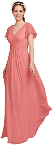 AW BRIDAL Chiffon Coral Pink Bridesmaid Dress with Sleeves V Neck Maxi Dresses for Women Party product image