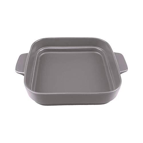 4.6 inch Kleine Keramiek Ramekins Vierkante Bakplaten met Handvat voor Oven Souffle Gerechten Bakken Bowl Individuele Bakeware (350ml)11.8 OZ voor Creme Brulee, Custard, Dipping, Rijst, Soep 8x8 inch(1300ML) Grijs