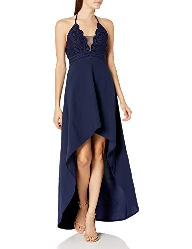 Speechless Women's Halter Sleeveless High-Low Party Dress, Navy, 1