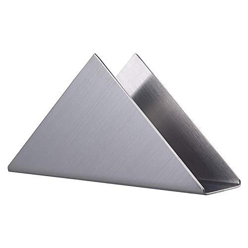 Dciustfhe Porta-tovaglioli triangolari in acciaio inox decorazione carta tovaglioli dispenser organizer per cucina, tavolo da pranzo, tavolo da picnic (argento)