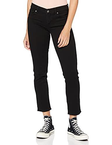 7 For All Mankind Damen MID Rise Roxanne Crop Slim Jeans, Schwarz (Bair Rinsed Black 0Xh), 29W / 28L