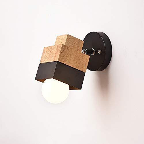 Raelf Simple moderne chambre lampe de mur de chevet salon créatif étude lumière murale pur support en bois naturel lumière mural multi-fonction chambre salon lampe d'aspiration murale la tête de la la