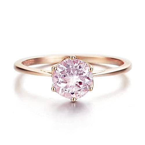 ANAZOZ Echtschmuck Damen-Ring 18 Karat 750 Rosegold 0,85 Karat Morganit Trauringe Gold Solitärring Größe 49 (15.6)