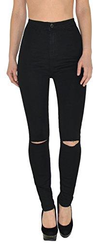 ESRA Damen Jeans Hose Risse am Knie High Waist Damen Jeanshose Skinny in vielen Farben bis Übergrö...