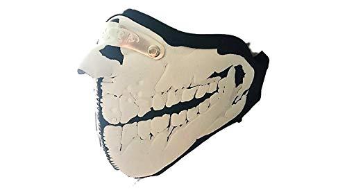 kenai dark Motorrad Neopren Maske Schädel Zähne mit Feinstaubfilter, Biker Mask skull teeth,Winddicht Staubdicht