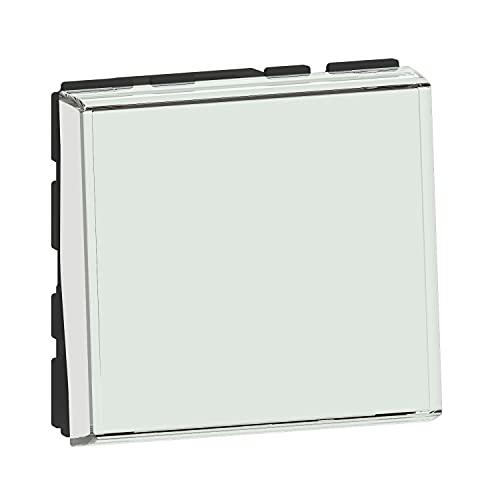 Pulsador único con portalápices para compostaje para identificación, Gama Mosaic Easy-LED 6A, 2 módulos, botón pulsador Legrand con función indicador añadiendo Indicadores Mosaic Easye-LED