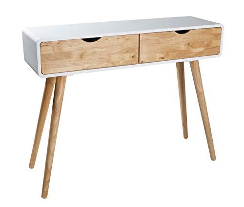 Wholesaler GmbH Weißer Konsolentisch Holz 2 Schubladen – skandinavischer Natur-Look Kommode Anrichte Sideboard Wandtisch Flur Retro