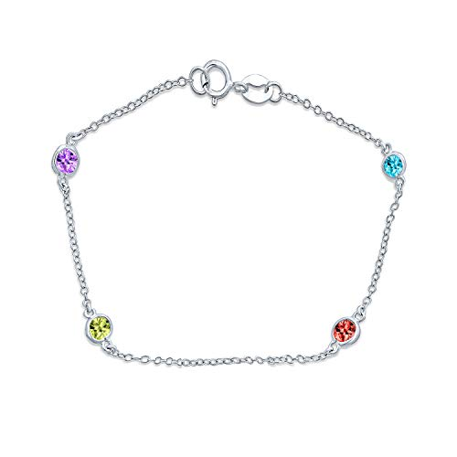 Bling Jewelry Minimalist Simple Multi Color CZ by The Yard Tin Cup Chain...