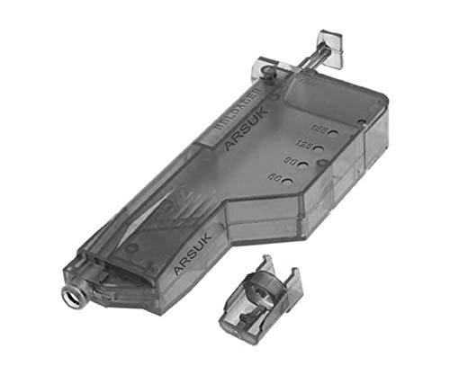 ARSUK Caricatore a Palette Tondo con Numero di Giri in plastica Airsoft 155per Pellet BB da 6 mm (155 Colpi-Nero)
