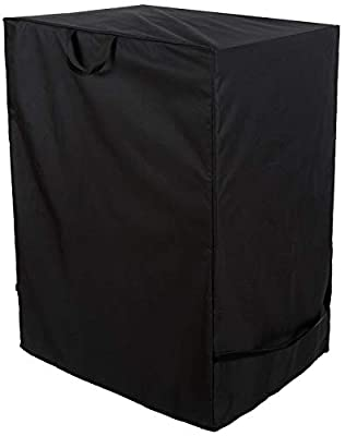 """Nicunom Square Electric Smoker Cover, 600D Heavy Duty Waterproof Grill Cover, Dust UV and Fade Resistant Fabric, Durable and Convenient with Handles and Straps, 28"""" x 22"""" x 39"""", Black"""