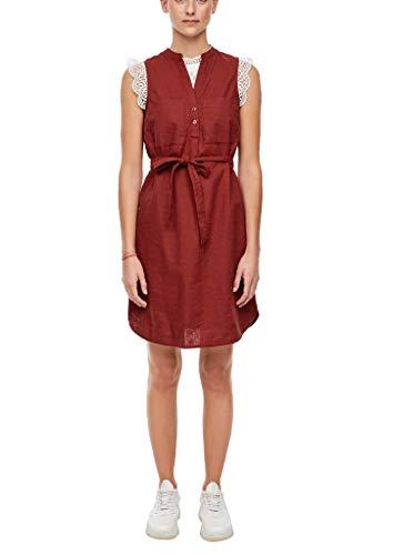 Q/S designed by - s.Oliver Damen Leinenmix-Kleid mit Gürtel Rust red 38