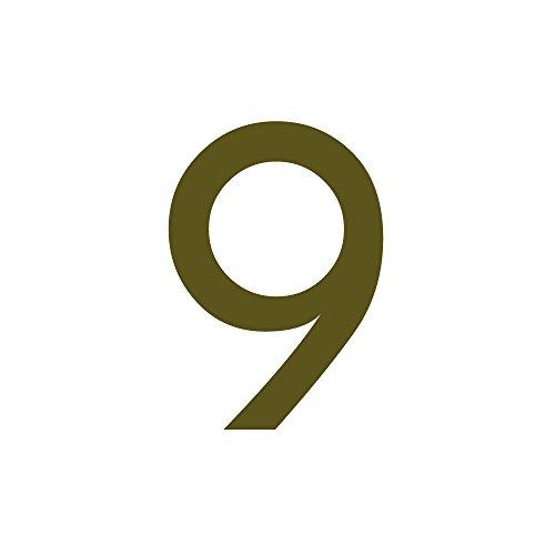 Zahlenaufkleber Nummer 9, Gold, 10cm (100mm) hoch, Aufkleber mit Zahlen in vielen Farben + Höhen, wetterfest
