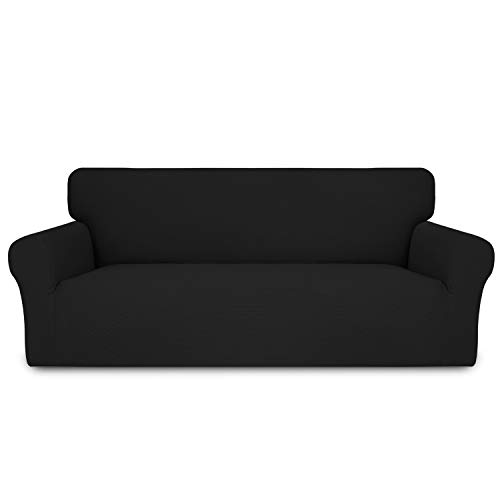 Easy-Going Thickened Stretch Slipcover, Sofa Cover, Furniture Protector with Elastic Bottom, 1 Piece Couch Shield, Sturdy Fabric for Pets,Kids,Children,Dog (Oversized Sofa,Black)