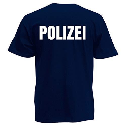 Shirt-Panda Herren Polizei T-Shirt - Druck Beidseitig Brust & Rücken Reflex Dunkelblau (Druck Weiß) S