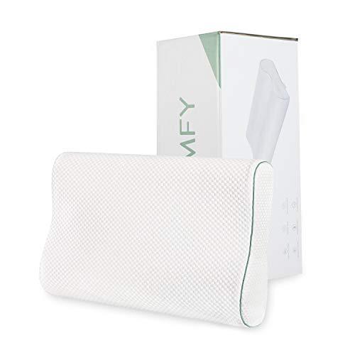 HOMFY Orthopädisches Memory Foam Nackenstützkissen Ergonomisches Kopfkissen mit waschbare Bambusfaser Kissenbezüge Weiß 40x60cm