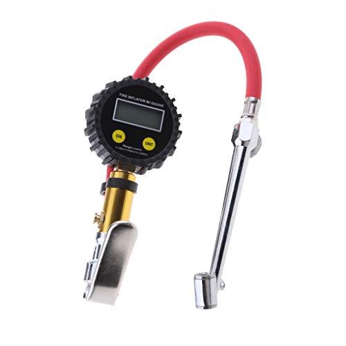 perfk 0-200PSI Digital Neumático Medidor de Presión de Aire Del Neumático Manómetro LCD Motocicleta # 4