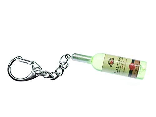 Miniblings Weinflasche Schlüsselanhänger Wein grün Weißwein 48mm - Handmade Modeschmuck I I Anhänger Schlüsselring Schlüsselband Keyring