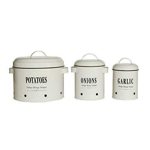 4W Kanister-Sets für Küchentheke, Metall-Aufbewahrungsbehälter für Kartoffeln, Zwiebeln, Knoblauch, Vintage-Farmhouse Küchenbehälter, 3er-Set mit Deckel