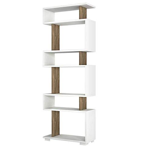 Toilinux.com Blok - Estantería de diseño escandinavo (60 x 165 cm), color blanco