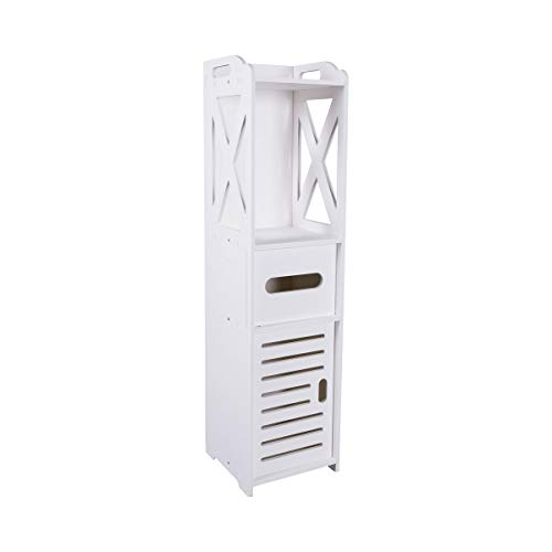 Unbekannt Toiletten-Schränkchen, Badregal, Standregal, Toilettenpapieraufbewahrung, Badmöbel, Toilettenschrank, WC-Regal, weiß, Kunststoff, 20 x 20 x 80 cm