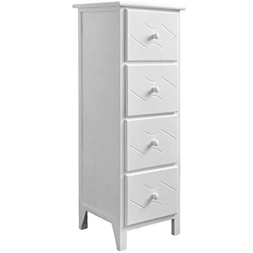 EXQUI Nachttisch Kommode Nachtschrank Nachtkommode Weiß mit 4 Schubladen Nachtkonsole Holz für Schlafzimmer Wohnzimmer Komplett montiert, 32x30x92cm, G962-4W