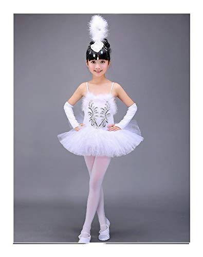 Hjbds White Swan See-Ballett Tutu Kostüm Mädchen-Kind-Ballerina-Kleid-Kind-Ballett-Kleid Tanzkleidung Tanzkleid for Mädchen (Color : White, Size : 164 to 173cm Height)