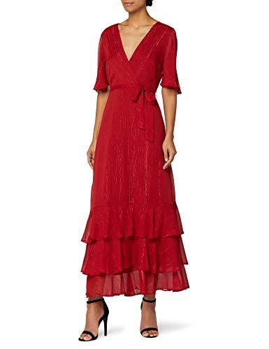Marchio Amazon - Truth & Fable Vestito con Rouches all'Orlo Donna, Rosso (RED RED), 46, Label: L