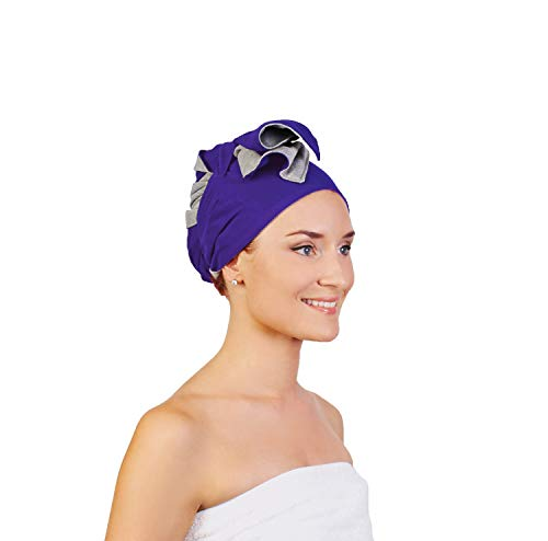 Wrapperoo Patented T-Shirt Hair Towel & Styling Cape All-in-One (Purple)
