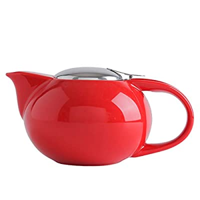SANHECUN Ceramic infusion teapot with stainless infuser teapot Tea Gift (1, Red)