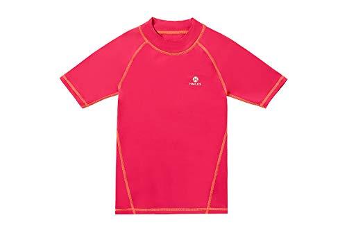 Rash Guards Surf Shirt LSF 50+ UV-Schutz Schwimm-T-Shirt für Mädchen 5/6-13 Jahre Gr. 5-6 Jahre, Ss-rot