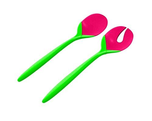 zak! Designs Tulpen Salatbesteck 2-er Set 28cm grün/Grapefruit