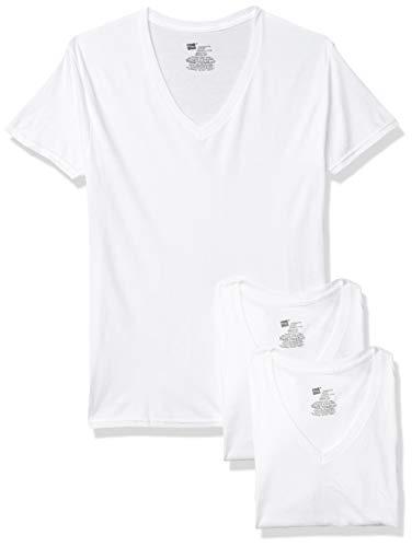 Hanes Men's Comfort Flex Fit White V-Neck 3 Pack, Medium