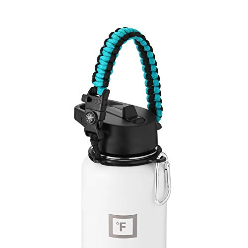 IRON °FLASK Paracord Handle - Fits Wide Mouth Water Bottles - Durable Carrier, Secure Accessories, Survival Strap Cord, Safety Ring, and Carabiner - Seven Core Paracord Bracelet