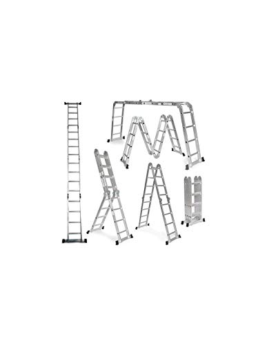 Escalera De Aluminio Plegable 575cm, Multifuncional 6 En 1, Carga Máxima 150kg, Diseño Antideslizante, Tamaño Plegado 149x35x29cm