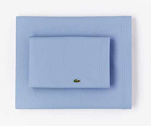 Lacoste 100% Cotton Percale Sheet Set, Solid, Allure Blue, King