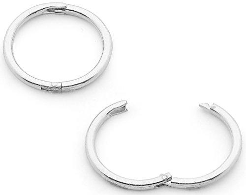 """365 Sleepers 1 Pair Solid Sterling Silver 1/2"""" (13mm) 18G Hinged Hoop Sleepers Earrings Made in Australia"""