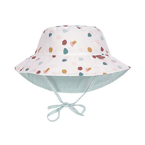 LÄSSIG - Wendbarer UV Bucket Hut für Babys - Tupfen - Weiß